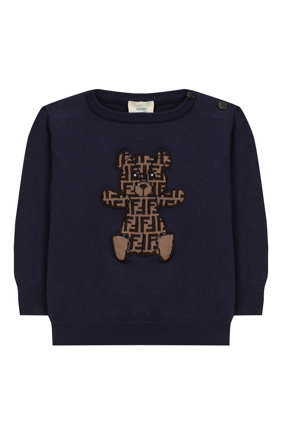 Детский хлопковый пуловер FENDI синего цвета, арт. BUG040/A3TE/12M-24M   Фото 1