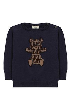 Детский хлопковый пуловер FENDI синего цвета, арт. BUG040/A3TE/12M-24M | Фото 1