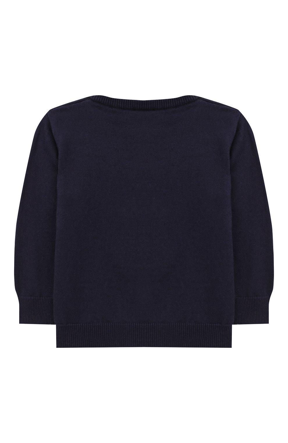 Детский хлопковый пуловер FENDI синего цвета, арт. BUG040/A3TE/12M-24M   Фото 2