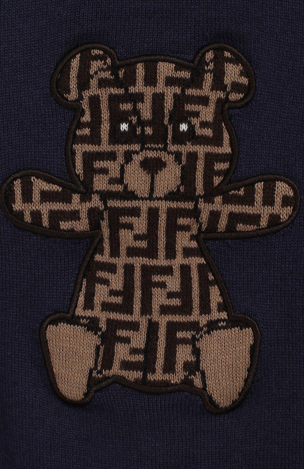Детский хлопковый пуловер FENDI синего цвета, арт. BUG040/A3TE/12M-24M   Фото 3