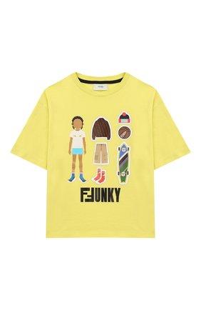 Детская хлопковая футболка FENDI желтого цвета, арт. JMI318/7AJ/3A-6A | Фото 1