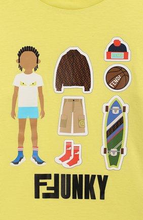 Детская хлопковая футболка FENDI желтого цвета, арт. JMI318/7AJ/3A-6A | Фото 3