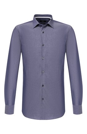 Мужская хлопковая сорочка BOSS темно-синего цвета, арт. 50428490 | Фото 1