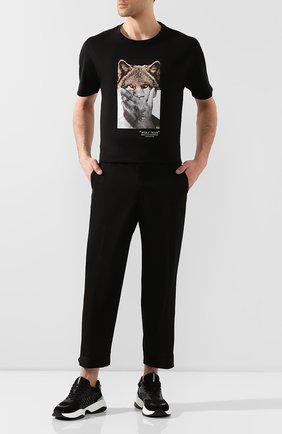 Мужской хлопковые брюки NEIL BARRETT черного цвета, арт. BPA744/N014 | Фото 2