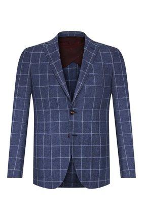 Мужской пиджак из смеси шерсти и хлопка LUCIANO BARBERA темно-синего цвета, арт. 111F25/15614 | Фото 1