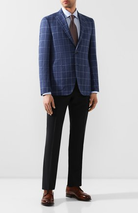 Мужской пиджак из смеси шерсти и хлопка LUCIANO BARBERA темно-синего цвета, арт. 111F25/15614 | Фото 2