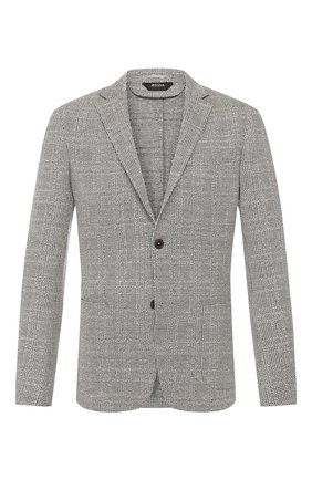 Мужской пиджак из смеси хлопка и льна Z ZEGNA серого цвета, арт. 777741/1D7SG0 | Фото 1