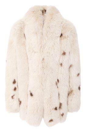 Женская шуба из меха лисицы SAINT LAURENT кремвого цвета, арт. 606853/Y7WK2 | Фото 1