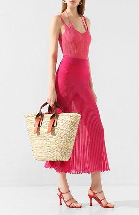 Женская хлопковая юбка JACQUEMUS фуксия цвета, арт. 201KN12/54450 | Фото 2
