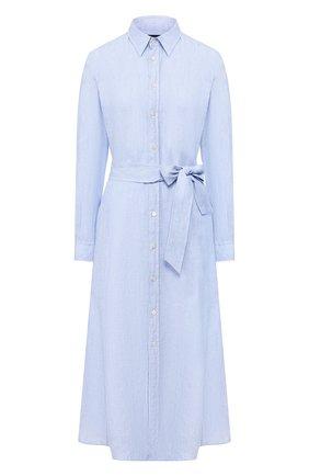 Женское льняное платье POLO RALPH LAUREN голубого цвета, арт. 211797191 | Фото 1