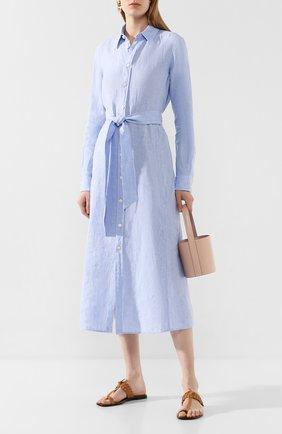 Женское льняное платье POLO RALPH LAUREN голубого цвета, арт. 211797191 | Фото 2