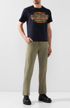 Мужские хлопковые брюки black label HARLEY-DAVIDSON хаки цвета, арт. 96524-17VM | Фото 2 (Материал внешний: Хлопок; Длина (брюки, джинсы): Стандартные; Случай: Повседневный; Стили: Кэжуэл)