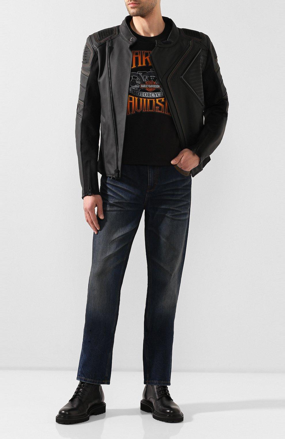 Мужские джинсы genuine motorclothes HARLEY-DAVIDSON синего цвета, арт. 96523-17VM | Фото 2 (Силуэт М (брюки): Прямые; Длина (брюки, джинсы): Стандартные; Материал внешний: Хлопок)