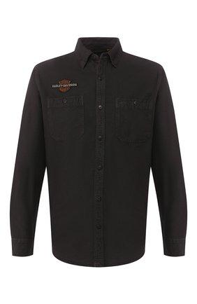 Мужская хлопковая рубашка genuine motorclothes HARLEY-DAVIDSON темно-коричневого цвета, арт. 99103-20VM | Фото 1 (Рукава: Длинные; Длина (для топов): Стандартные; Материал внешний: Хлопок; Случай: Повседневный; Воротник: Кент)