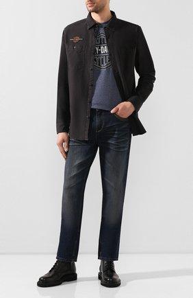 Мужская хлопковая рубашка genuine motorclothes HARLEY-DAVIDSON темно-коричневого цвета, арт. 99103-20VM | Фото 2 (Рукава: Длинные; Длина (для топов): Стандартные; Материал внешний: Хлопок; Случай: Повседневный; Воротник: Кент)