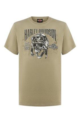 Мужская хлопковая футболка exclusive for moscow HARLEY-DAVIDSON хаки цвета, арт. R003460 | Фото 1
