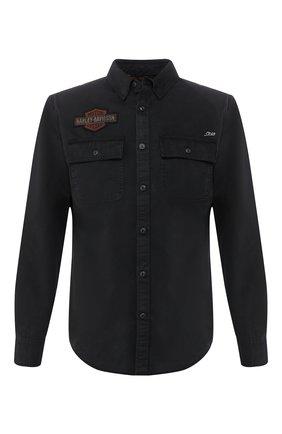 Мужская хлопковая рубашка 1903 HARLEY-DAVIDSON черного цвета, арт. 99282-19VM | Фото 1 (Манжеты: На пуговицах; Воротник: Кент; Рукава: Длинные; Случай: Повседневный; Длина (для топов): Стандартные; Принт: С принтом; Материал внешний: Хлопок)