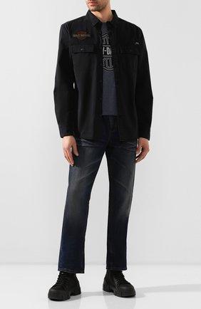 Мужская хлопковая рубашка 1903 HARLEY-DAVIDSON черного цвета, арт. 99282-19VM | Фото 2 (Манжеты: На пуговицах; Воротник: Кент; Рукава: Длинные; Случай: Повседневный; Длина (для топов): Стандартные; Принт: С принтом; Материал внешний: Хлопок)