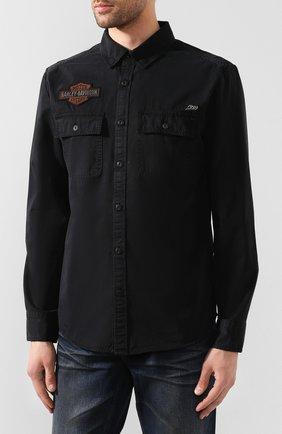 Мужская хлопковая рубашка 1903 HARLEY-DAVIDSON черного цвета, арт. 99282-19VM | Фото 3 (Манжеты: На пуговицах; Воротник: Кент; Рукава: Длинные; Случай: Повседневный; Длина (для топов): Стандартные; Принт: С принтом; Материал внешний: Хлопок)