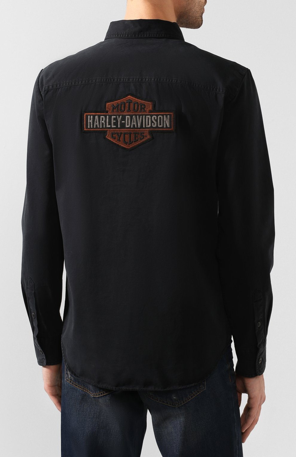 Мужская хлопковая рубашка 1903 HARLEY-DAVIDSON черного цвета, арт. 99282-19VM | Фото 4 (Манжеты: На пуговицах; Воротник: Кент; Рукава: Длинные; Случай: Повседневный; Длина (для топов): Стандартные; Принт: С принтом; Материал внешний: Хлопок)