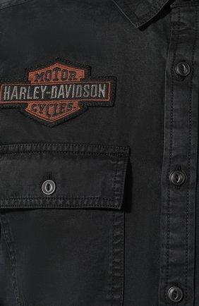 Мужская хлопковая рубашка 1903 HARLEY-DAVIDSON черного цвета, арт. 99282-19VM | Фото 5 (Манжеты: На пуговицах; Воротник: Кент; Рукава: Длинные; Случай: Повседневный; Длина (для топов): Стандартные; Принт: С принтом; Материал внешний: Хлопок)
