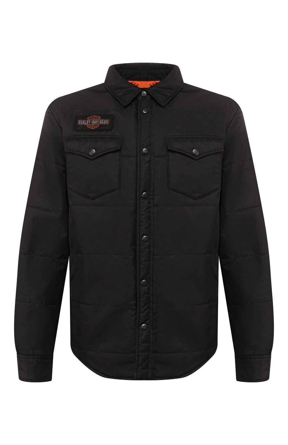 Мужская куртка 1903 HARLEY-DAVIDSON черного цвета, арт. 97494-19VM   Фото 1 (Кросс-КТ: Куртка, Ветровка; Рукава: Длинные; Материал внешний: Синтетический материал; Мужское Кросс-КТ: Куртка-верхняя одежда, Верхняя одежда; Длина (верхняя одежда): Короткие)