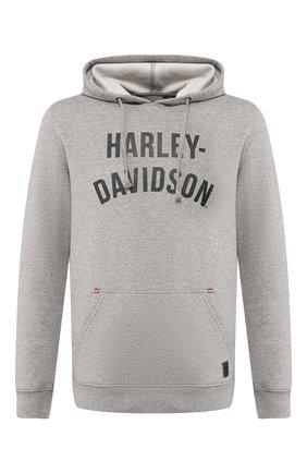 Мужской худи garage HARLEY-DAVIDSON серого цвета, арт. 96528-19VM   Фото 1