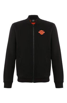 Мужской бомбер genuine motorclothes HARLEY-DAVIDSON черного цвета, арт. 98407-20VM | Фото 1 (Материал внешний: Хлопок, Синтетический материал; Мужское Кросс-КТ: Верхняя одежда; Рукава: Длинные; Длина (верхняя одежда): Короткие; Кросс-КТ: Куртка)
