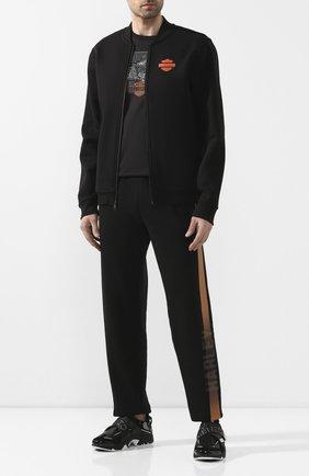 Мужской бомбер genuine motorclothes HARLEY-DAVIDSON черного цвета, арт. 98407-20VM | Фото 2 (Материал внешний: Хлопок, Синтетический материал; Мужское Кросс-КТ: Верхняя одежда; Рукава: Длинные; Длина (верхняя одежда): Короткие; Кросс-КТ: Куртка)