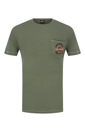 Мужская хлопковая футболка exclusive for moscow HARLEY-DAVIDSON зеленого цвета, арт. R003480 | Фото 1