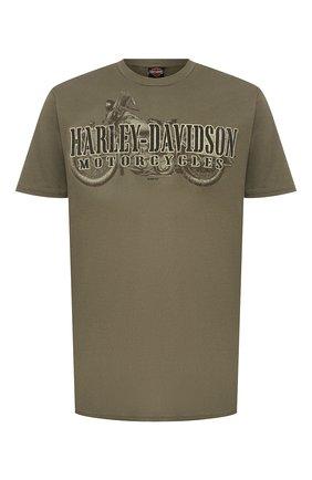 Мужская хлопковая футболка exclusive for moscow HARLEY-DAVIDSON хаки цвета, арт. R003465 | Фото 1