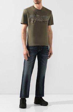 Мужская хлопковая футболка exclusive for moscow HARLEY-DAVIDSON хаки цвета, арт. R003465 | Фото 2