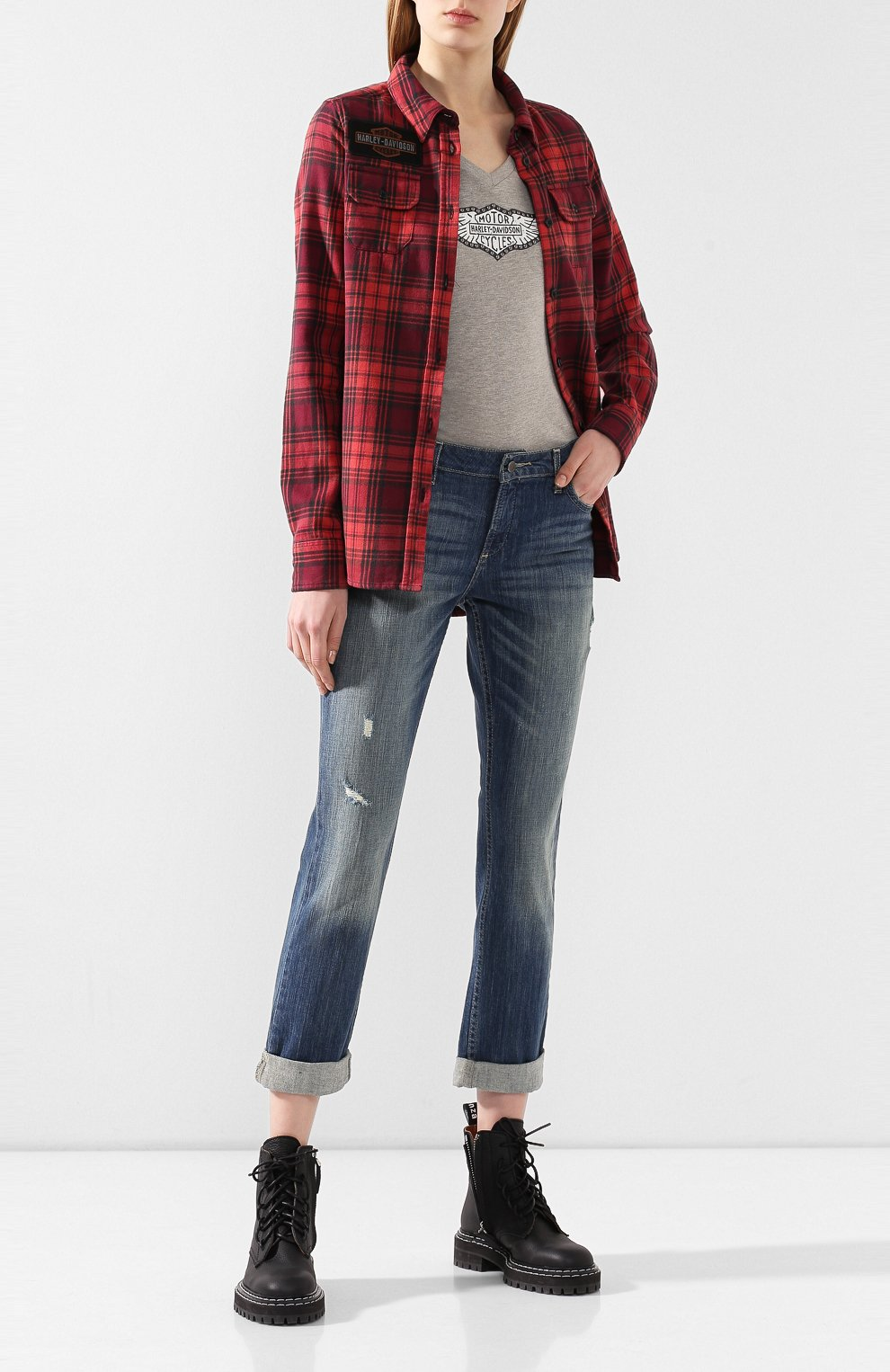 Женские джинсы с отворотами black label HARLEY-DAVIDSON голубого цвета, арт. 96188-15VW | Фото 2