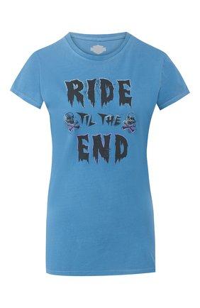 Женская хлопковая футболка black label HARLEY-DAVIDSON синего цвета, арт. 96389-16VW | Фото 1