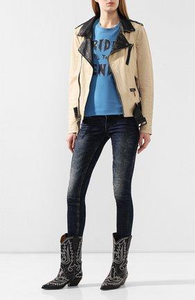Женская хлопковая футболка black label HARLEY-DAVIDSON синего цвета, арт. 96389-16VW | Фото 2