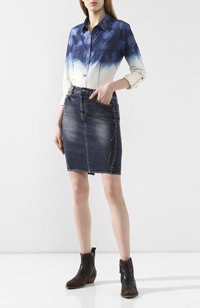 Женская хлопковая рубашка black label HARLEY-DAVIDSON голубого цвета, арт. 96393-16VW | Фото 2