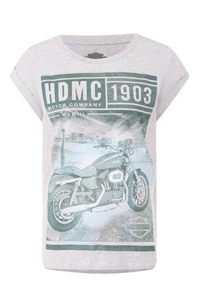 Женская футболка garage HARLEY-DAVIDSON серого цвета, арт. 96060-18VW   Фото 1