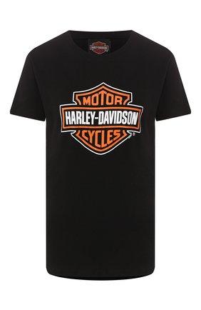 Женская хлопковая футболка exclusive for moscow HARLEY-DAVIDSON черного цвета, арт. 30298705   Фото 1