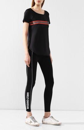 Женская хлопковая футболка genuine motorclothes HARLEY-DAVIDSON черного цвета, арт. 96828-19VW | Фото 2