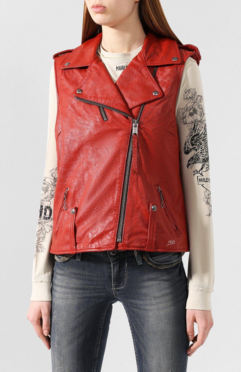 Женский кожаный жилет 1903 HARLEY-DAVIDSON красного цвета, арт. 97049-19VW | Фото 3