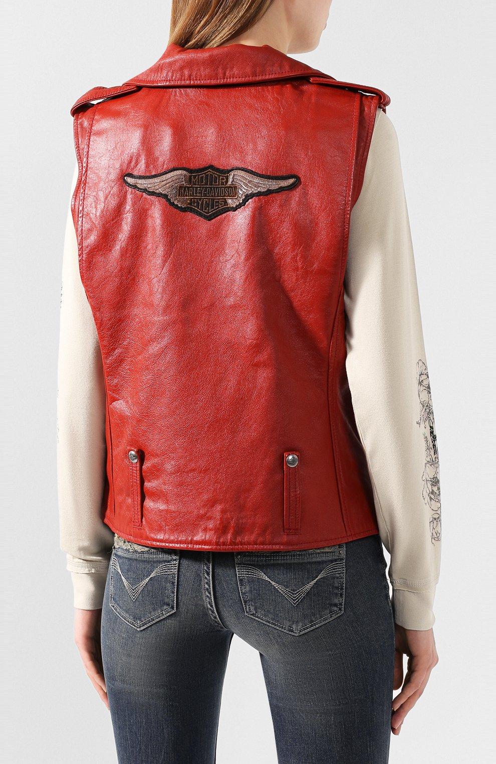 Женский кожаный жилет 1903 HARLEY-DAVIDSON красного цвета, арт. 97049-19VW | Фото 4
