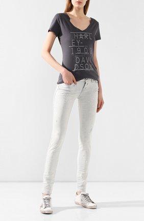 Женская хлопковая футболка black label HARLEY-DAVIDSON серого цвета, арт. 96203-16VW   Фото 2