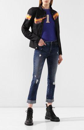 Женские джинсы с отворотами black label HARLEY-DAVIDSON синего цвета, арт. 96366-16VW | Фото 2