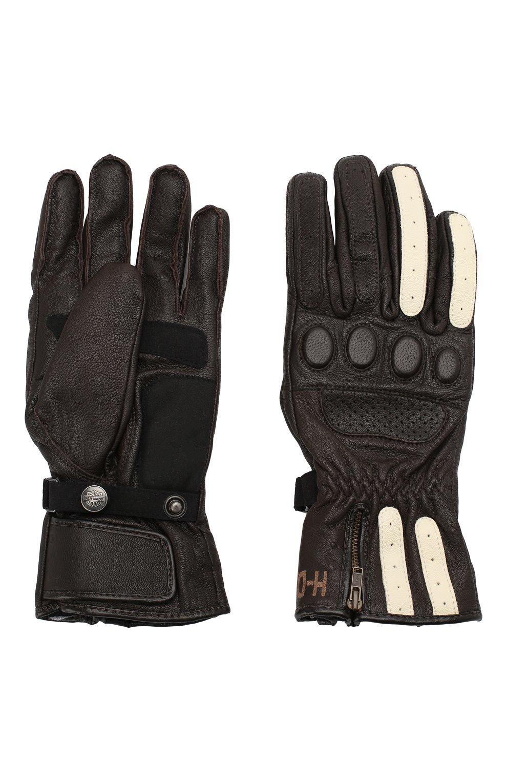 Мужские кожаные перчатки genuine motorclothes HARLEY-DAVIDSON темно-коричневого цвета, арт. 97353-17EM | Фото 2