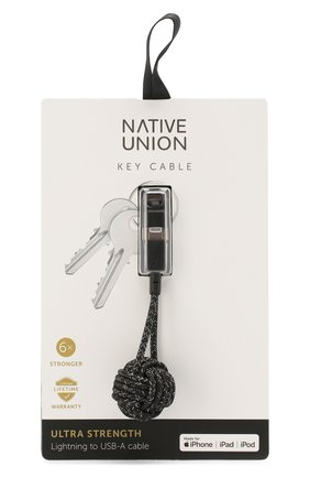 Мужской брелок с зарядным кабелем key cable NATIVE UNION черного цвета, арт. KEY-KV-L-CS-BLK | Фото 1