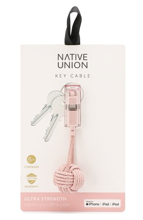 Мужской брелок с зарядным кабелем key cable NATIVE UNION розового цвета, арт. KEY-KV-L-ROSE | Фото 1