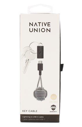 Мужской брелок с зарядным кабелем key cable NATIVE UNION черно-белого цвета, арт. KEY-KV-CL-ZEB | Фото 1