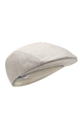 Женская льняная кепка BRUNELLO CUCINELLI серебряного цвета, арт. MCAP90123 | Фото 1