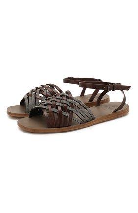 Женские кожаные сандалии BRUNELLO CUCINELLI коричневого цвета, арт. MZSLC1779   Фото 1