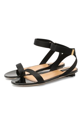 Женские текстильные сандалии DSQUARED2 черного цвета, арт. FSW0032 02580360   Фото 1